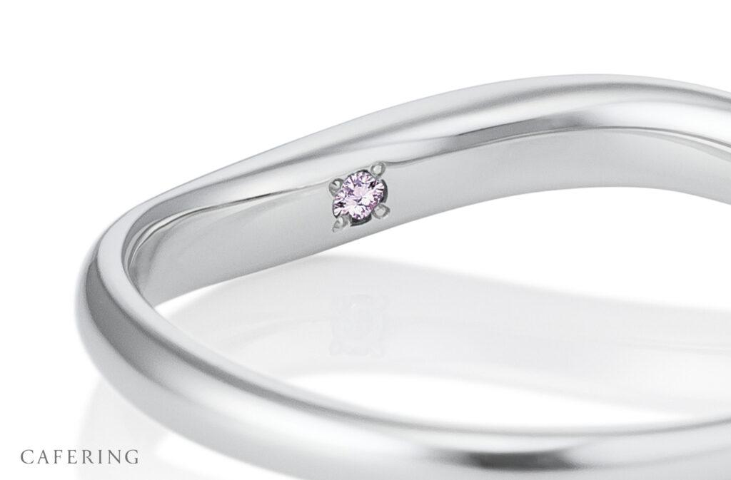カフェリング内側石ピンクダイヤモンド
